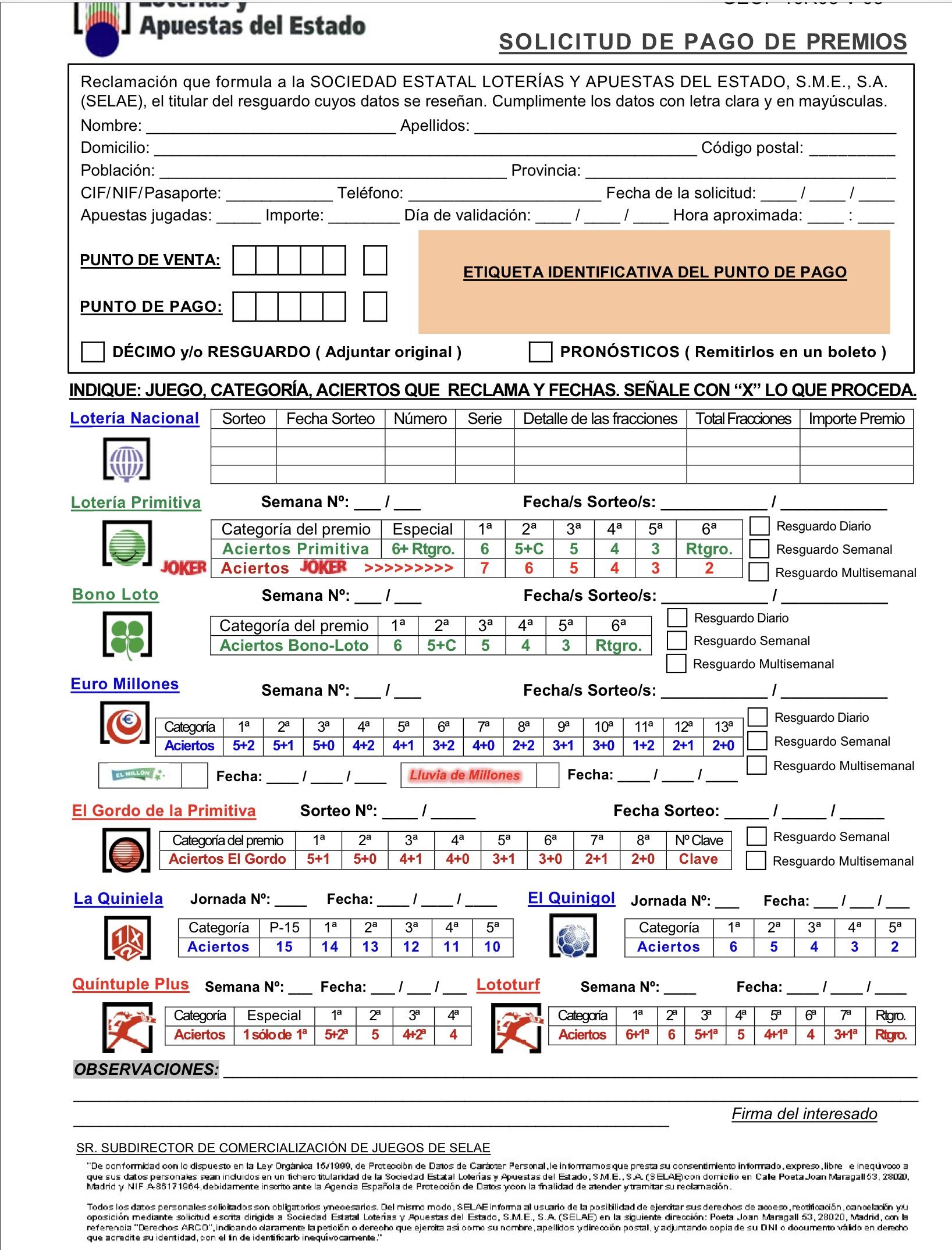 Formulario para solicitar pago de premios de resguardos deteriorados